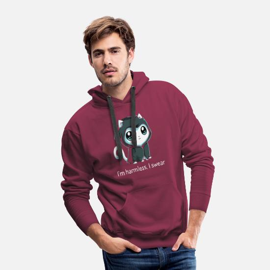 New World Order Hoodies & Sweatshirts - Grim Kitty New - Men's Premium Hoodie burgundy