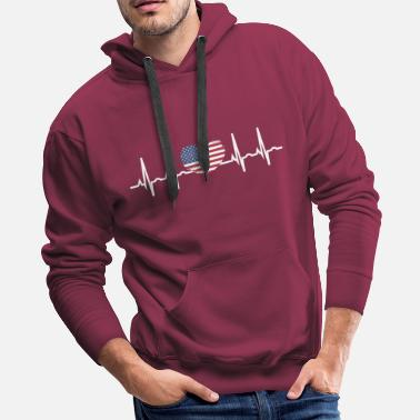 City Of Dallas US Flag Heartbeat ECG Electrocardiography - Men's Premium Hoodie