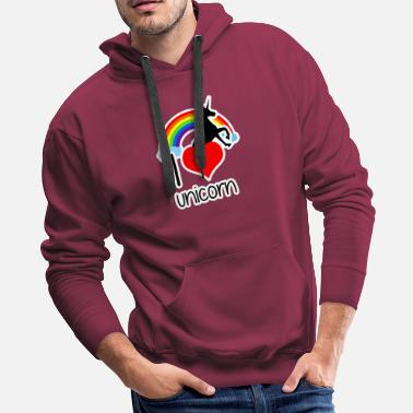 Weird I love Unicorn - mythical creatures Horse Pony - Men's Premium Hoodie