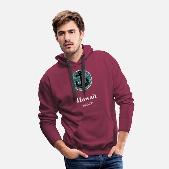 Usa Hoodies & Sweatshirts - Hawaii Beach Anchor white - Men's Premium Hoodie burgundy