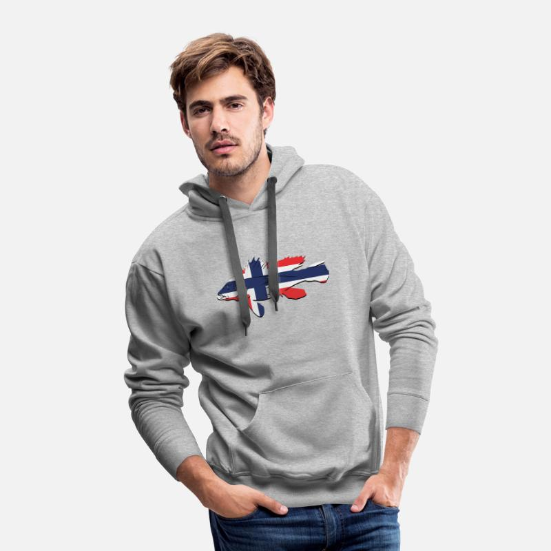 Fishing Hoodies & Sweatshirts - Fishing Tshirt Norway Fish Present Gift - Men's Premium Hoodie heather gray