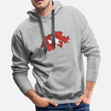 Swiss Cross Swiss Map Flag - Men's Premium Hoodie