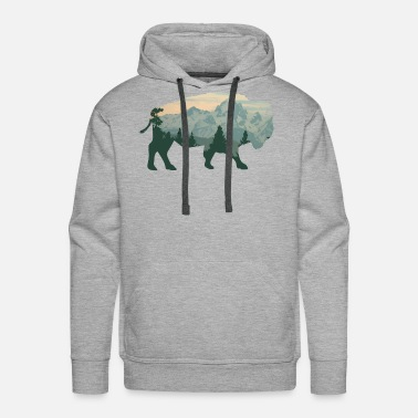 Bison Cool Bison - Mountain Animal Herd Mammal Bovidae - Men's Premium Hoodie