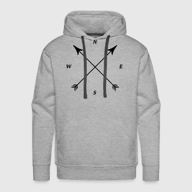 Compass Print, North, East, South, West - Men's Premium Hoodie