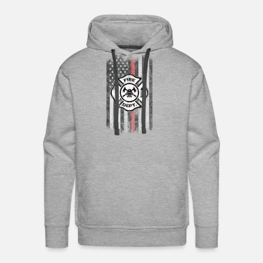 Flame Fire Department Shield American Flag Thin Red - Men's Premium Hoodie