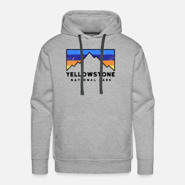 National Yellowstone National Park Retro Mountain Colors ca - Men's Premium Hoodie