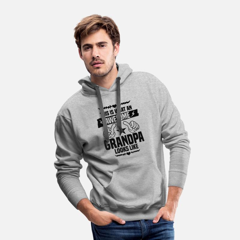 Grandad Hoodies & Sweatshirts - Awesome Grandpa Looks Like - Men's Premium Hoodie heather gray