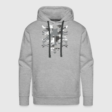 Albanian Double Headed White Camo Flag - Men's Premium Hoodie