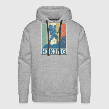 Retro Vintage Style Hiking Hike Wander Walk Tramp - Men's Premium Hoodie