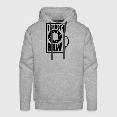 Raw I shoot RAW Funny Photographer T Shirt - Men's Premium Hoodie