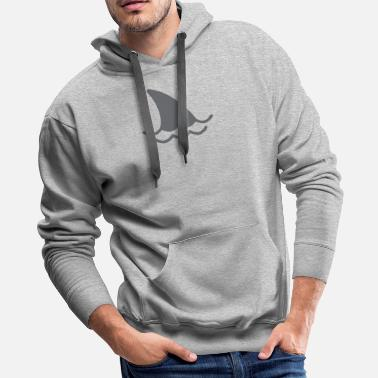 Fins Up Shark Fin And Waves - Men's Premium Hoodie