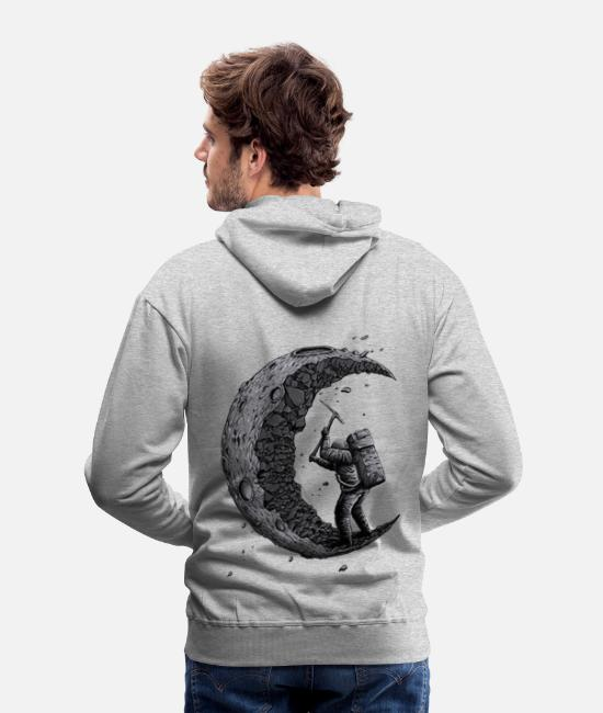Funny Hoodies & Sweatshirts - Digging the moon Funny - Men's Premium Hoodie heather gray