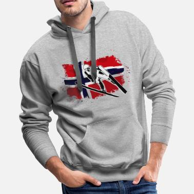 Ski Jumping Ski Jumping - Norway Flag - Men's Premium Hoodie
