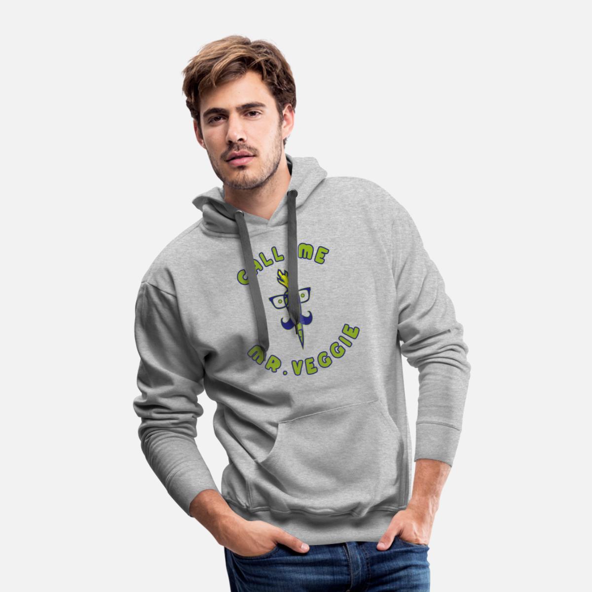 Vegan carrot as hipster beard glasses Men's Premium Hoodie - heather gray