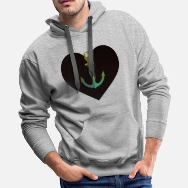 Sailboat Beautiful sailing anchor with pattern - Men's Premium Hoodie