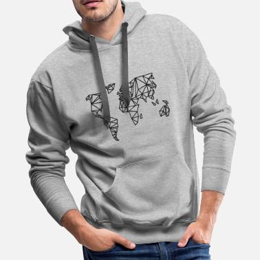 Map World map linear - Men's Premium Hoodie