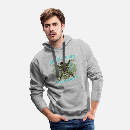 Fighter Hoodies & Sweatshirts - Cage Fighter born to be the Hell - Men's Premium Hoodie heather gray