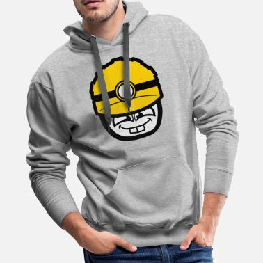 Happy Face face head man happy boy helmet lick flashlight saf - Men's Premium Hoodie