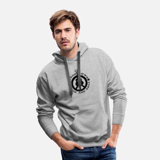 Love Hoodies & Sweatshirts - Funny Rockn Roll Tshirt Peace Love - Men's Premium Hoodie heather gray