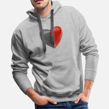 End Grey With Red Puzzle Heart - Men's Premium Hoodie