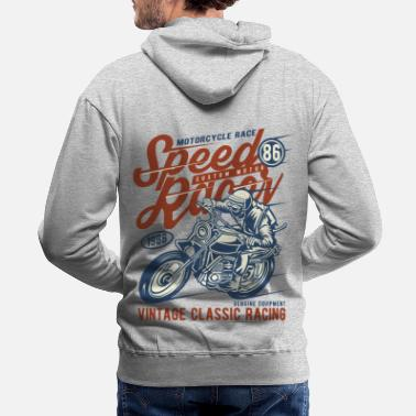 Bikes And Cars Collection Speed Racer Vintage Classic Racing - Men's Premium Hoodie