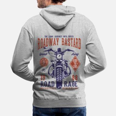 Bikes And Cars Collection Roadway Bastard - Motocross, Motobike Rider Shirt - Men's Premium Hoodie