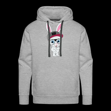 Cool Bunny Rabbit With Cap And Glasses - Men's Premium Hoodie