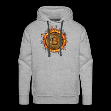 Bitcoin BTC Fiery Ring Cryptocurrency On Fire. - Men's Premium Hoodie