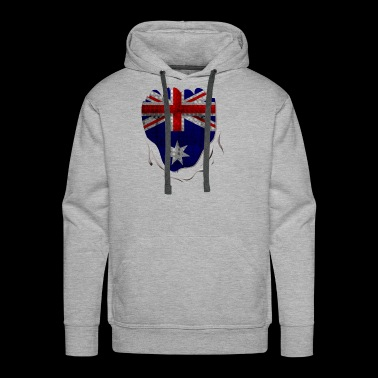 Funny Australian Flag Ripped Abs - Men's Premium Hoodie