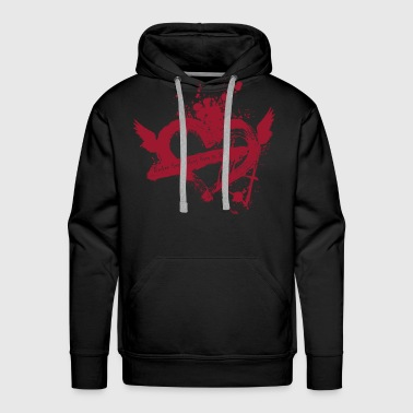 Broken Flying Splatter Heart - Men's Premium Hoodie