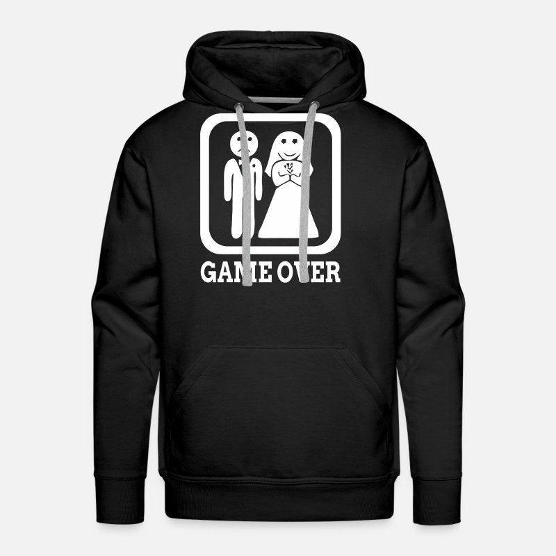 Wedding Hoodies & Sweatshirts - GAME OVER Marriage Bride Groom Wedding - Men's Premium Hoodie black
