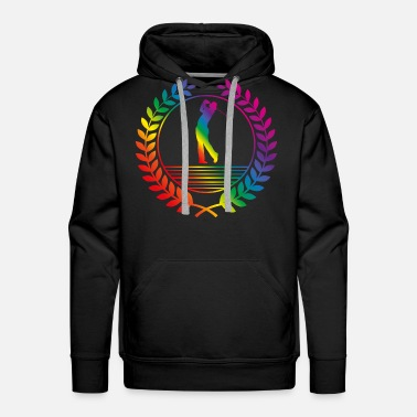 Laurel Wreath golfer rainbow - Men's Premium Hoodie