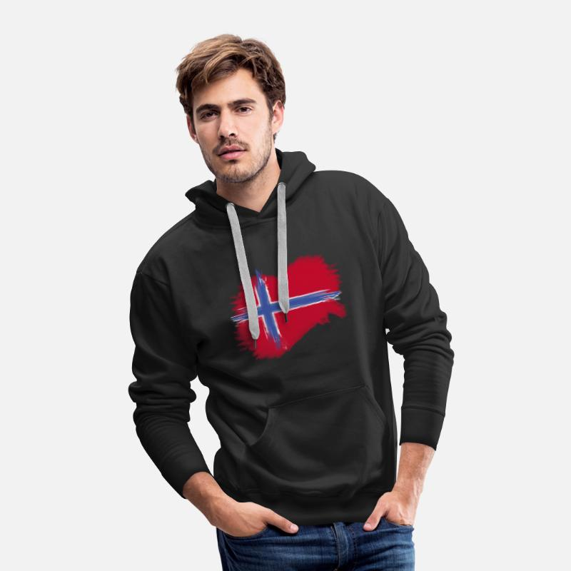 Nordic Hoodies & Sweatshirts - norway flag norge flag - Men's Premium Hoodie black