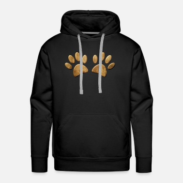 Wood Dog Paw Print - Men's Premium Hoodie