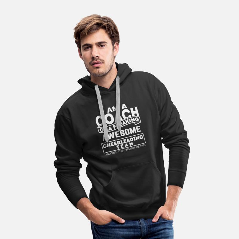 Cheerleader Apparel Hoodies & Sweatshirts - Proud Cheerleading Coach - Men's Premium Hoodie black