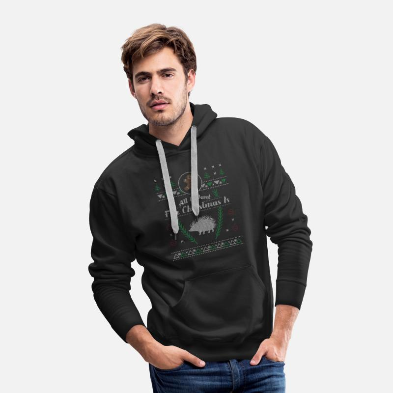 Hedgehog Christmas Sweater.Pet Hedgehog Christmas Ugly Shirt Men S Premium Hoodie Black