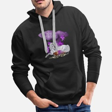 Fairy-tail White unicorn with cute sleeping fairy - Men's Premium Hoodie