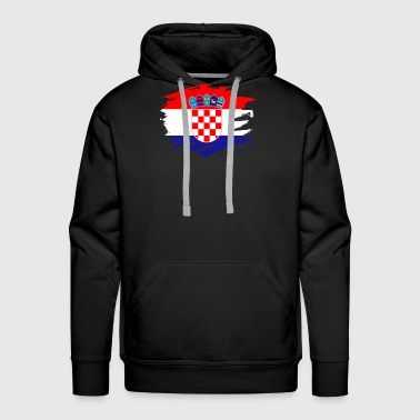 Croatia Paint Splatter Flag Croatian Pride Design - Men's Premium Hoodie