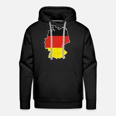 Black Red Gold Germany Map Red Black Gold Gift Christmas - Men's Premium Hoodie