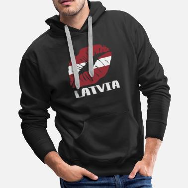 Kissing Lips LVA Latvia Kiss Lips T Shirt - Men's Premium Hoodie
