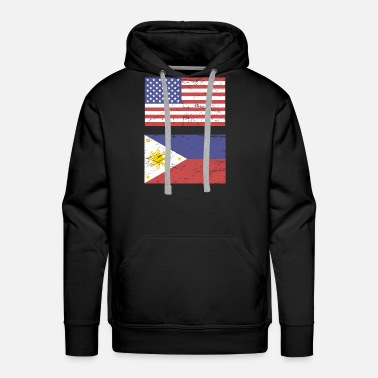 State Flag United States Flag & Philippines Flag - Men's Premium Hoodie