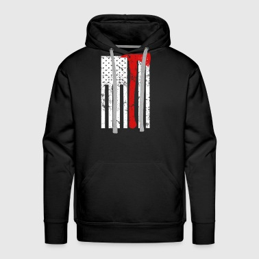 Proud Firefighter US Flag Thin Red Line Shirt - Men's Premium Hoodie