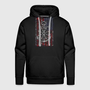 Navy - American flag T-shirt - Men's Premium Hoodie