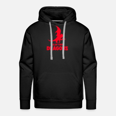 Mythical Creature Dragon, fire, mythical creature - Men's Premium Hoodie