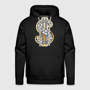 Dollar Diamond Money Symbol - Men's Premium Hoodie