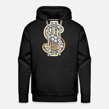 Dollar Sign Diamond Money Symbol - Men's Premium Hoodie