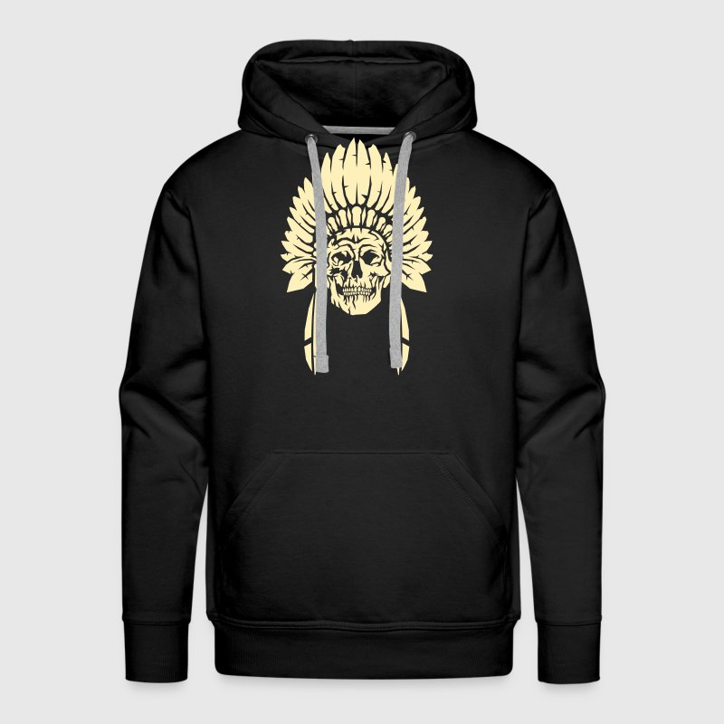 Skull with indian headdress - Men's Premium Hoodie