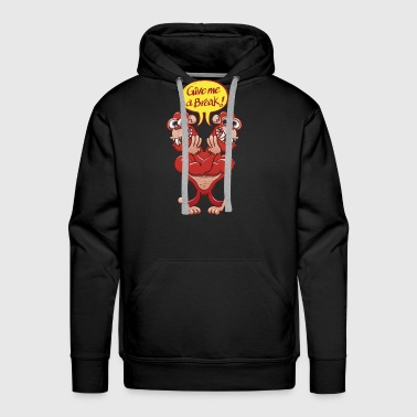 Two-headed gorilla asking each other for a break - Men's Premium Hoodie