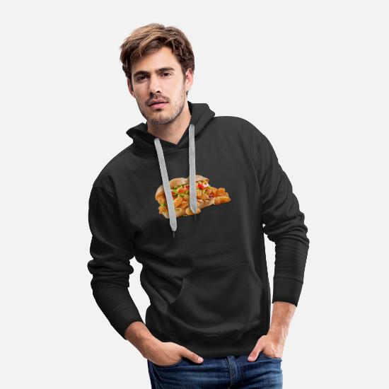 Shrimp Hoodies & Sweatshirts - Fried Shrimp Poboy overflowing realistic sandwich - Men's Premium Hoodie black