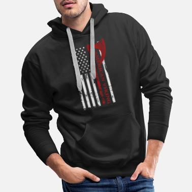 Channel American Viking Victory Or Valhalla USA Flag Hanes - Men's Premium Hoodie